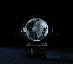 Сувенир из стекла с лазерной гравировкой. Глобус. Шар 60мм