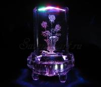Букет роз. Полихромная подсветка, восьмигранник.
