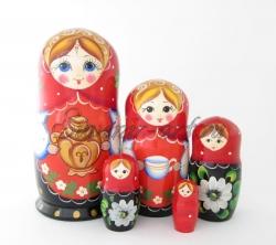 Матрёшка с самоваром, 5 кукол с росписью.