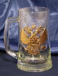 Стеклянная  пивная кружка с гербом.