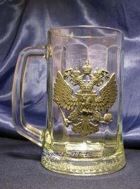 """Кружка для пива с барельефом """"Держава""""."""