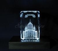 Храм Христа Спасителя в стекле. Сувенир Использование монохромной подсветки.
