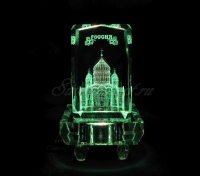Храм Христа Спасителя в стекле. Сувенир. Цветопеременная подсветка квадрат.