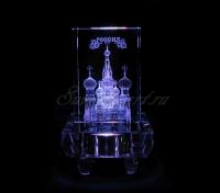 Храм Василия Блаженного в гранёном стекле. Цветопеременная подсветка квадрат.