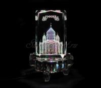 Храм Христа Спасителя в стекле. Сувенир. Цветопеременная подсветка восьмигранник.