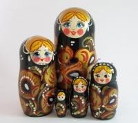 """Матрёшка """"Хохлома чёрная"""", 5 кукол."""