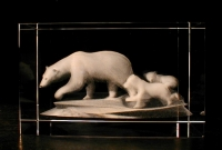 Белая медведица с медвежатами.